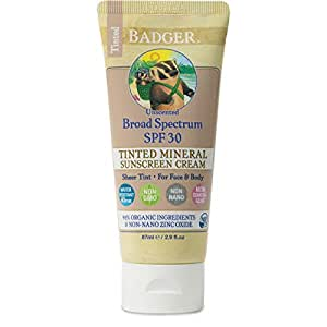Badger - SPF 30 Tinted Sunscreen Cream for Body & Face - Unscented - Broad Spectrum Water Resistant Reef Safe Sunscreen, Natural Mineral Tinted Sunscreen with Organic Ingredients 2.9 fl oz