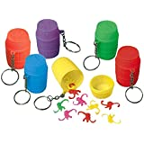 "Amscan Party Perfect Monkeys-in-a-Barrel Game Keychain Favours, Plastic, 2"" x 1"", Pack of 12"