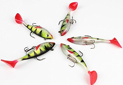 Jig Wobblers Lure Sea 5pcs/lot Fishing Lures Soft Plastic Artificial Bait 8.5cm Ice (Graphite Powder Epoxy)