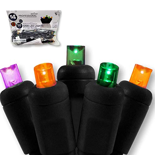 Orange Park Mall Halloween (S4 LED Halloween Lights - Multicolor - 50 Bulb (5mm) Wide Angle Mini Indoor/Outdoor String Light Decorations - The Perfect Complement to Your Spooky Yard Decor (50 LED,)