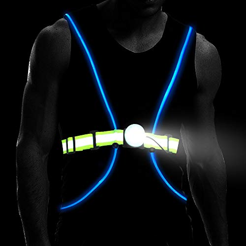 Longu Led Running Reflective Vest Safety Night Light USB Rechargeable Cycling Multicolored Fiber Optics Suit Women Men KidS Adjustable Light weight Gear For Jogging Biking