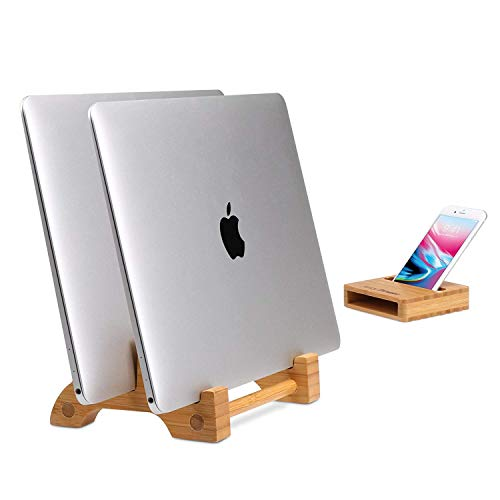 AVLT-Power Eco-Friendly Natural Bamboo Vertical Laptop Stand and Desk Organizer - Compatible with Apple MacBook, iPad, iPhone, Tablet, Keyboard - Multiple Device Docking Station for Up to 0.65