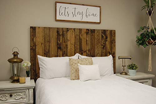 - Dark Walnut Headboard California King Size Stain, Hanger Style, Handcrafted. Mounts on Wall. Easy Installation