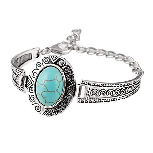 - Antique Silver Natural Synthetic Oval Turquoise Cuff Embellished Bracelet