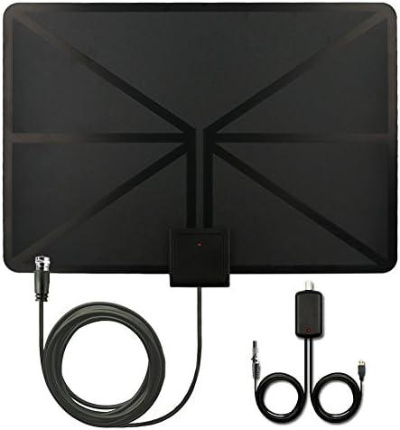 Oferta 09-13 Dec】QcoQce Antena para TV Digital de TDT y HD par interior HDTV 50 Millas de Distancia alta definición y la versión mejorada del amplificador de señal ,13ft Cable Coaxial, Color