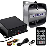 DORRALE Car/Truck Police Siren 100W DS7300 Wireless Amplifier with Silver Meter Ultra Slime Flat Speaker,DC12V,Multi-Tones,Two Lights Control,Emergency Electronic Siren Signal PA System