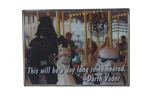 Postcard Pin - Disney Darth Vader on a Carousel Postcard Pin