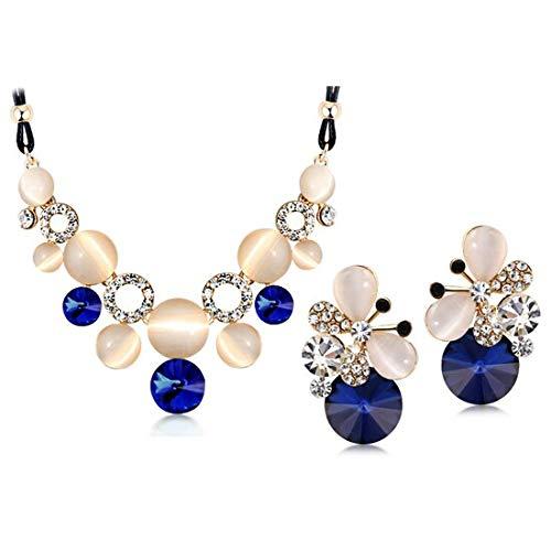 Wedding's Female Austrian Charm Crystal Fine Jewerly Sets | for Women | Circular Opal Jewelry - Charm Crystal Circular