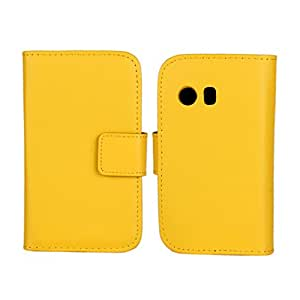 Uwind Cowskin Flip Leather Wallet Card Pouch Stand Back Case Cover For Samsung Galaxy Y S5360 Yellow