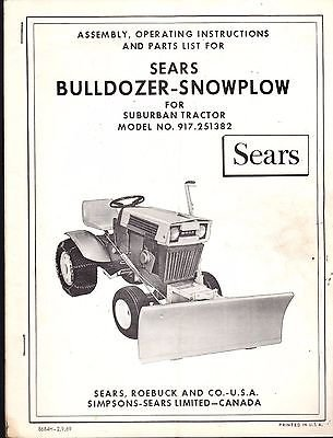 SEARS BULLDOZER SNOWPLOW MODEL NO  917 251382 OWNE