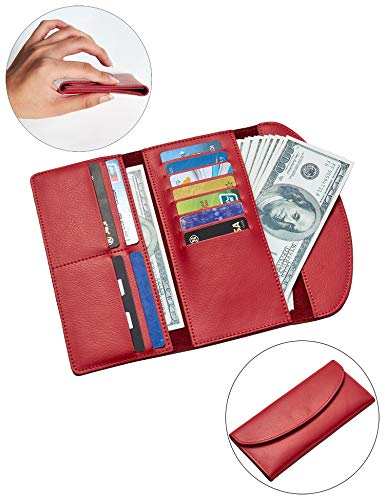 ANBENEED Genuine Leather Trifold Envelope Ultra-Thin Slim Long wallets with snap Closure For Women(Rose ()