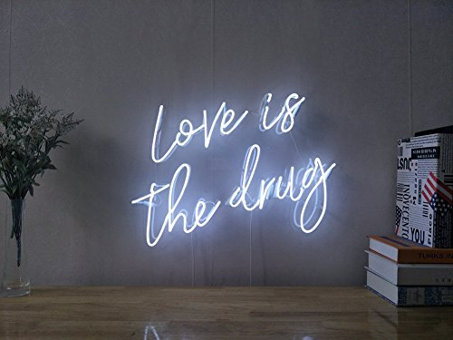 Love Is The Drug Real Glass Neon Sign For Bedroom Garage Bar Man Cave Room Home Decor Handmade Artwork Visual Art Dimmable Wall Lighting Includes Dimmer