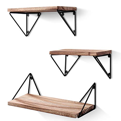 BAYKA Floating Shelves Wall Mounted Set of 3 Our floating shelves are the perfect result of investigation and research; they are not only practical but also decorative, and the triangular brackets are stable and versatile since each bracket is made u...