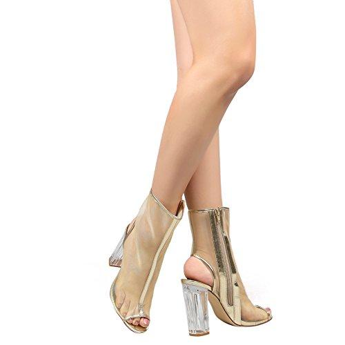 Damen Peep Toe Gaze Sandalen High-Heels Transparent Blockabsatz mit Reißverschluss Gold