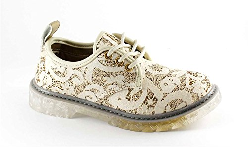 CAFè NOIR FA831 beige oro scarpe donna derby lacci pizzo strass 35