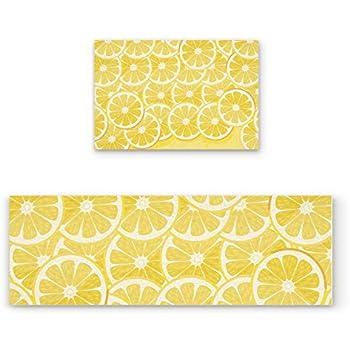 Amazon.com: Z&L Home Cute Lemon Kitchen Rug Sets 2 Piece