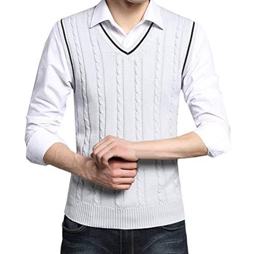 Noël Doux Pulls Sans Teens Mans En Gilet Pull Biran Gentleman V Tricot Hommes Valentines Manches Gris Tricots Pour Cou Coton De Anniversaire Único wx1xFq