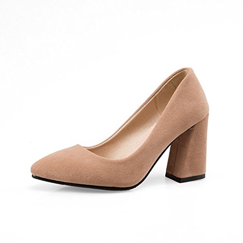 Pointe de premiers Track Chaussure Bold élégante avec Unique Chaussures femelle Chaussures à talons hauts peu profonde Bouche du 32–43, Jaune, 35