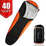 Camping Sleeping Bag Adult For 0 Degree To 20 Degrees Fahrenheit 4 Season Envelope Mummy Outdoor Lightweight Portable Waterproof Perfect TravelingHiking ActivitiesDark Grey Red Left Zip Mummy