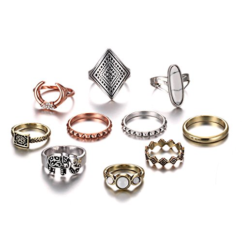 RINHOO FRIENDSHIP 10PCS Bohemian Retro Vintage Crystal Joint Knuckle Ring Sets Finger Rings (Style 2) (Fashion Set Rings)
