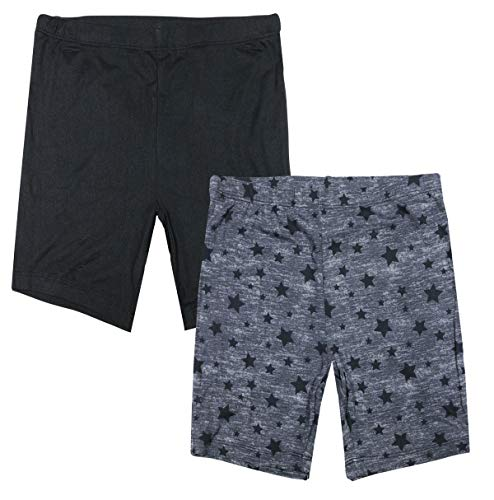 Only Girls Butter-Soft-Touch Printed Yummy Bike Shorts (2-Pack), Charcoal Stars/Black, Size X-Large / 14'