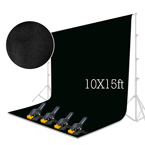 - Emart Black Backdrop Background Screen 10 x 15 ft Muslin Photo Video Backdrop Studio, 4 x Backdrop Clamp Included