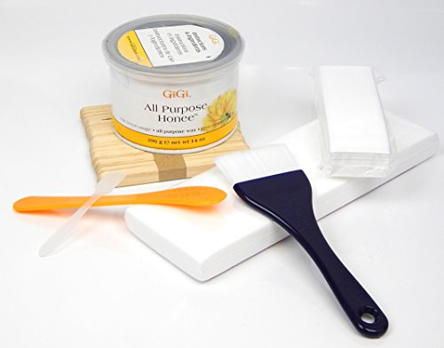 Price comparison product image 14 Oz GiGi All Purpose Honee Wax + Applicators, Brush, Waxing Strips Pack Kit