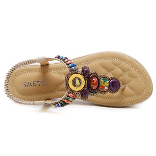 Ouvertes Mode de Femmes Confortable 42 Compensé Sandales Sandale Loisir Plates Plage Chaussures JRenok Bohême Beige 35 xUgIRqvw5