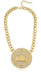 Goldtone Iced Out Round Pendant & Crown Design with Chain Necklace