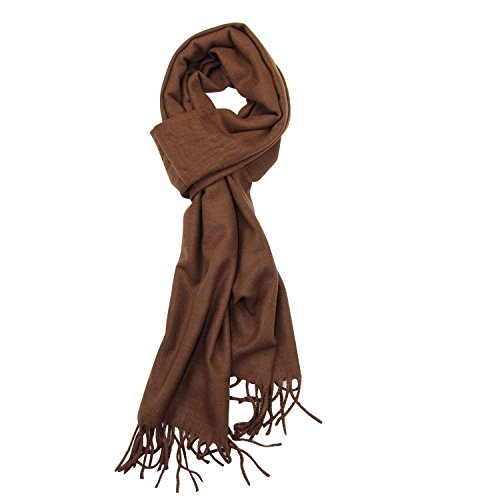 Plain Solid Color Cashmere Feel Classic Soft Luxurious Winter Scarf For Men Women (Brown Viscose Scarf)