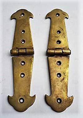 Image Unavailable. Image Not Available For. Color: Pair Brass Rustic Hinges  Antique Vintage Style Door ...