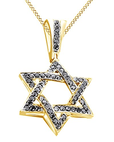 Round Cut Cubic Zirconia Star Hip Hop Pendant in 14k Yellow Gold Over Sterling Silver (1.44 Cttw) by AFFY