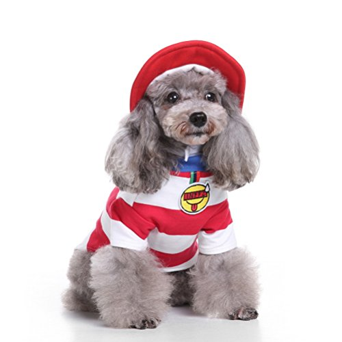 Zunea Christmas Small Dog Cat Costume with Hat,Puppy Xmas Sweatshirt Stripe Cosplay Pet Halloween Outfits Clothes Apparel S -