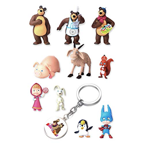 Masha and The Bear Party Supplies - Set of 10 Cake Toppers + Keychain - Cartoon Cake Décor for Kids - Original Comic Cartoon Birthday Décor - Great Party Favor for Toddlers -