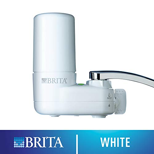 (Brita Tap Water Filter System, Water Faucet Filtration System with Filter Change Reminder, Reduces Lead, BPA Free, Fits Standard Faucets Only - Basic, White)