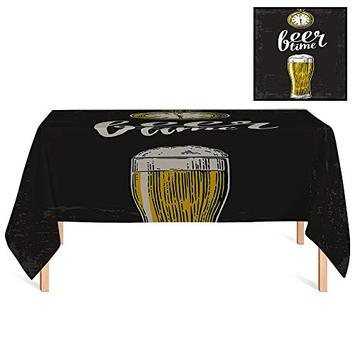 - SATVSHOP Kitchen Tablecloth /60x120 Rectangular,Modern Beer Time Typography with Glass and Old Antique Watch Lifestyle Illustration ES Yellow Cream Grey.for Wedding/Banquet/Restaurant.