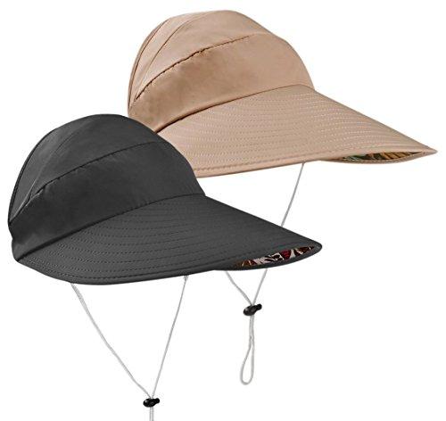 Sun Hats Women Wide Brim UV Protection Summer Beach Packable Visor (Black+Khaki) by SHANLIANG