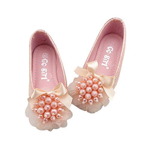 Zhuhaixmy Mädchen Kinder weichen unteren Schuhe Kinder Bowknot Lace Beads Prinzessin Schuhe Pink
