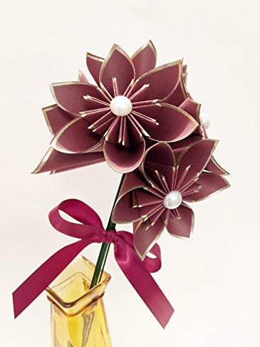 Set Of 6 Burgundy Gold Paper Flowers Traditional 1st Anniversary Gift Holiday Decor Christmas Origami Small Bouquet Wedding Decor