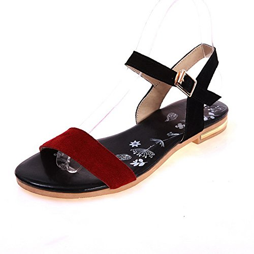 maymeenth-womens-open-toe-no-heel-frosted-assorted-color-buckle-flats-sandals-red-38