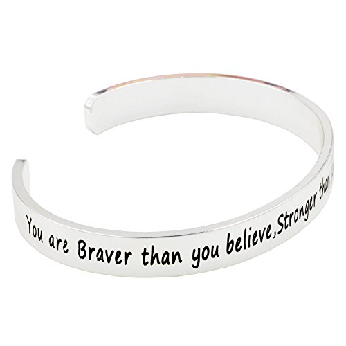 Tabwing Engraved Bangle You are Braver than you believe Stronger than you seem and Smarter than you think Cuff Bangle Bracelet (Silver)