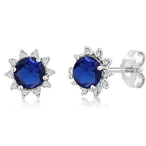 Gem Stone King 18K White Gold Diamond Stud Earrings Round 4mm Blue Simulated Sapphire 0.50 Ct (Simulated Earrings Diamond Blue)