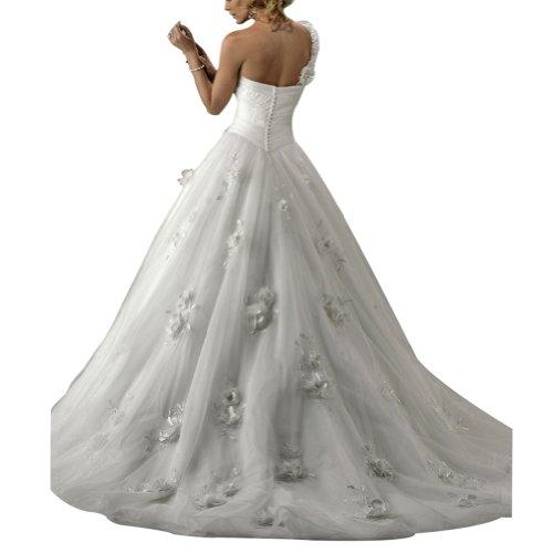 Eine Netto BRIDE ueber Elfenbein Charmante Satin mit Brautkleider Hochzeitskleider GEORGE Applikationen Blumen Schulter gEOwnnx