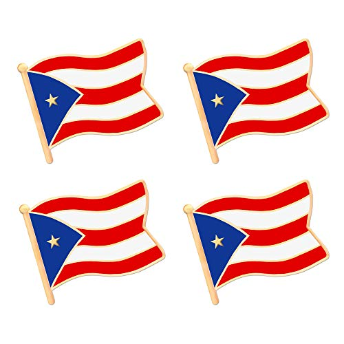 ALEY Puerto Rico Puerto Rican Flag Lapel Pin Decorations (4 Pack)