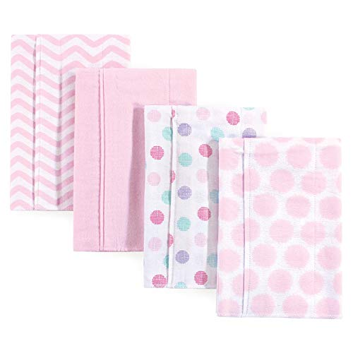 Luvable Friends Baby Layered Flannel Burp Cloth, Pink Dots/Chevron 4 Pack, One Size