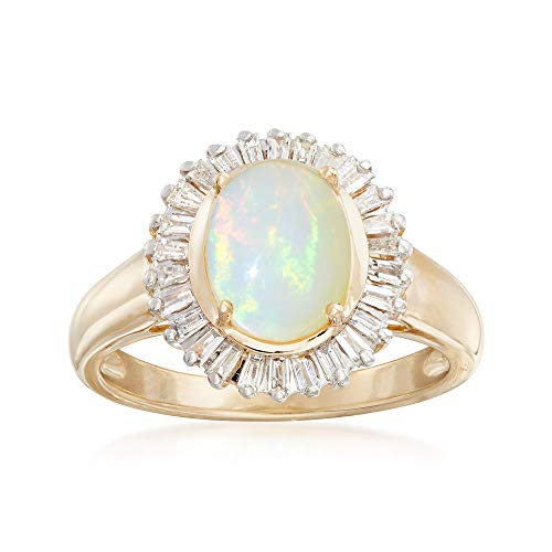 (Ross-Simons Ethiopian Opal and .58 ct. t.w. Diamond Ring in 14kt Yellow Gold)