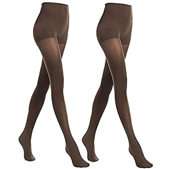 Stocking Fox Women's 70-Denier Opaque Stretch Coffe Tights Small 2-Pack