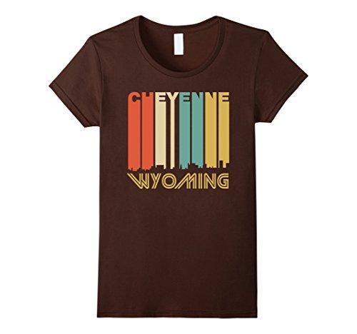 Womens Retro 1970's Style Cheyenne Wyoming Skyline T-Shir...
