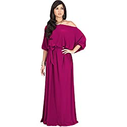 KOH KOH Womens Long Sexy One Off Shoulder Flowy Casual 3/4 Short Sleeve Cocktail Wedding Party Guest Maternity Gown Gowns Maxi Dress Dresses, Fuchsia Magenta Pink M 8-10