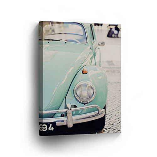 Green Volkswagen VW Beetle Bug Cute Sepya Colors CANVAS PRINT Decorative Vintage Rustic Art Modern Wall Decor Artwork Wrapped Wood Stretcher Bars - Ready to Hang - %100 Handmade in the USA - VBV1 by Smile Art Design